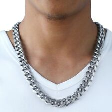 Mens Chain 14.5mm 316L Stainless Steel Necklace Silver Cut Curb Cuban Link