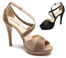 LADIES HIGH HEEL FAUX SUEDE STILETTO SANDALS ANKLE STRAP GLITTER PEEP TOE SHOES
