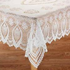 Crochet-Style Lace Vinyl Tablecloth - Faux Crocheted Table Cover