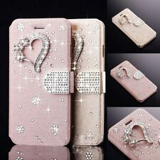 Crystal Diamond Magnetic PU Leather Flip Wallet Cover Case For Samsung/iPhone H