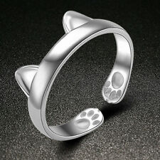 5pcs Silver Plated Cat Ear Ring Design Cute Fashion Jewelry Cat Ring For Women