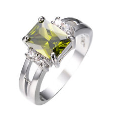 Size 5-10 Olive Green Peridot Wedding Ring 10Kt White Gold Filled Womens Jewelry