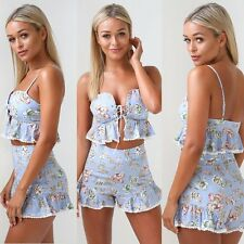 2Pcs Women Bodycon Romper Crop Cami Top Shorts Casual Jumpsuit Summer Outfits