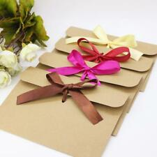 50x Kraft Paper Envelopes Wedding Party Invites Greeting Cards with Ribbon