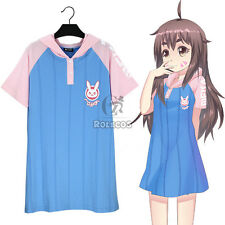 Game Overwatch OW D.Va DVA Bunny Summer Loose Hook Hoody T-shirt Dress Cosplay