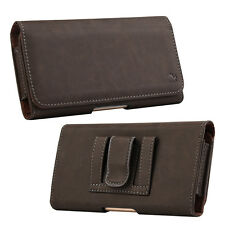 Brown Premium Luxury Leather Belt Clip Holster Pouch Clip Case For Cell Phones