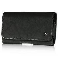 Black High Quality Luxury Leather Belt Clip Holster Pouch Clip Case For Phones