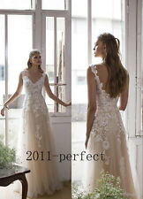 Beach Wedding Dress V-neck A-line Tulle Bridal Dress Vintage Summer Sexy Gown
