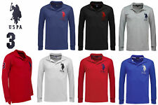 Mens US Polo Assn Long Sleeve Polo Shirt Top Big Pony