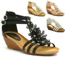 WOMENS SANDALS LADIES STRAPPY GLADIATOR MID LOW WEDGE EVENING SUMMER BEACH SHOES