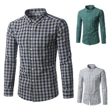 Fashion Men Slim Fit Shirts Stylish Luxury Casual Long Sleeve 100% Cotton Dress