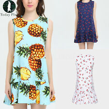 Women Ladies Summer Beach Floral Printed  Sleeveless Short Mini Dress Sundress