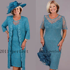Elegant Turquoise Plus Size Mother of the Bride Lace Dress Tea Length Guest Gown