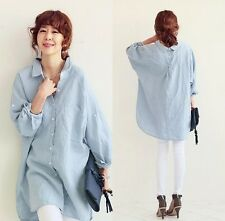 Korean Fashion Womens Cotton Linen Tops T Shirt OL Long Sleeve Loose Blouse New
