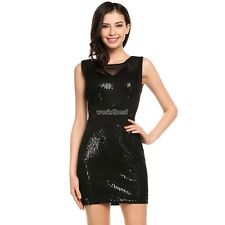 Women Sexy Sleeveless Sequin Embellished Evening Party Club Pencil Mini WST
