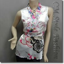 Japanese Kimono Sleeveless Floral Silky Satin Tank Top White S/M/L/XL/2XL/3XL