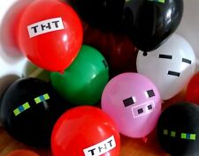 12 x Themed Latex Party Balloons, Minecraft offical Sticker Pack, Party Supplies