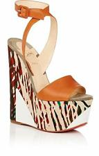 Christian Louboutin TROMPLOIA Leather Canvas Platform Wedge Heel Sandal Shoes