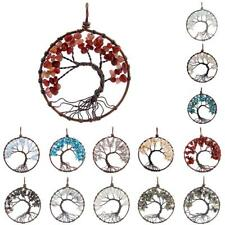 Gemstone Beads Copper Wire Wrap Tree of Life Charm Pendant for Necklace Chain