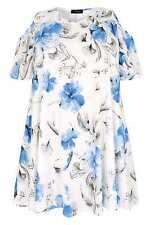 YoursClothing Plus Size Womens Watercolour Floral Print Slinky Cold Shoulder