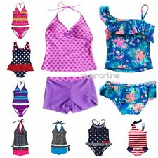 Kids Girls Two Piece Halter Tankini Swimwear Bikini Bathing Swim Suit Set Summer