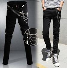 Denim Slim Fit Men's Korean Fashion Chain Skinny Jeans Stretch Casual Trousers @