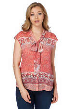 Roman Originals Women's Paisley Print Pussybow Blouse Red
