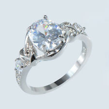 Oval White Sapphire 10KT White Gold Filled Engagement Ring Women's Party Jewelry