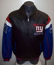 NEW YORK GIANTS NFL Full Leather Jacket  Sewn Logos Size: SMALL