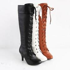 Womens High Heel Stiletto Knee High Boot Military Lace Up Roma Shoes All US SZ