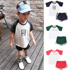 Sports Baby Boys Girls Cotton Short Sleeve Tee Tops T-Shirts +Short Pants Sets