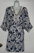 NWT LILLY PULITZER BRIGHT NAVY IN THE GROOVE WILDA CAFTAN DRESS XS FITS S