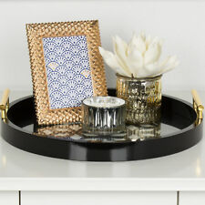 Kate and Laurel Caspen Round Cut Out Pattern Serving Tray with Metal Handles