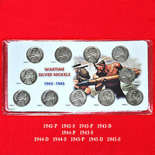 WARTIME JEFFERSON SILVER NICKELS COMPLETE SET (11 COINS) ALL P D S MINT MARKS