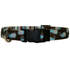 Dog Puppy Designer Collar - Yellow Dog - Made In USA -Brown Paisley