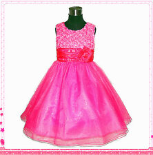 Kids Pinks Communion Christening Baptism Flower Girls Dresses 1-2-3-4-6-7-8-10T