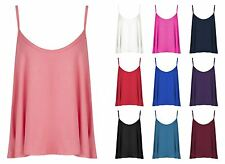 Womens Ladies Plain Plus Size Sleeveless Swing Vest Strap Cami Camisole Tank Top