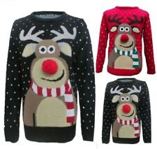 Unisex Boys Girls Christmas Rudolph Pom Pom Nose Novelty Vintage Retro Jumper