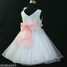 Kids Girl Pinks Christening Pageant Flower Girls Dresses SIZE 1,2,3,4,6,8,10,12T