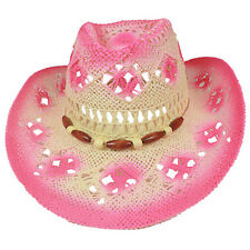 Silver Fever Woven Straw Cowboy Hat w Cut-outs Beads Chin Strap