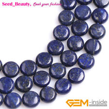 Natural Stone Color Enhanced Button Coin Shape Lapis Lazuli Jewelry Beads 15""
