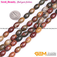 """Natural Olvary-shaped Multi Red Picasso Jasper Gemstone Loose Beads Strand 15"""""""