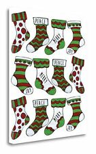 'Christmas Stocking Cheer Pattern' Graphic Art Print on Wrapped Canvas