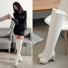 Hot womens chunky high heels platform boots over the knee thigh high boots shoes