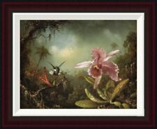 Orchid With Two Hummingbirds by Martin Johnson Heade Framed Painting Print