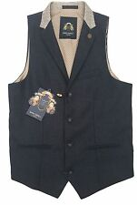 MENS MARC DARCY CONTRAST COLLAR FASHION FORMAL WAISTCOAT GLEN - NAVY BLUE