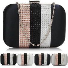 Women Satin Bridal Clutch Hard Compact Diamante Ladies Evening Prom Party Bag UK