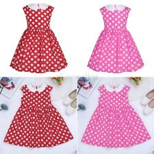 Girls Kids Princess Lapel Polka Dots Birthday Wedding Party Holiday Summer Dress