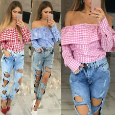 Women Plaid Off Shoulder Tops Long Sleeve Blouse Ladies Casual Party Tops Shirt