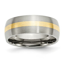 Stainless Steel 14k Yellow Inlay 8mm Brushed Band SR1